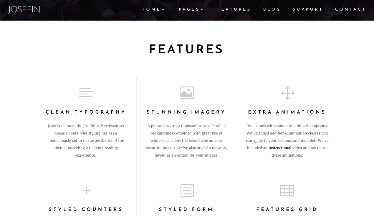 Aspen Grove Studios Best Child Themes for Divi Superfly, Josefin Child Theme