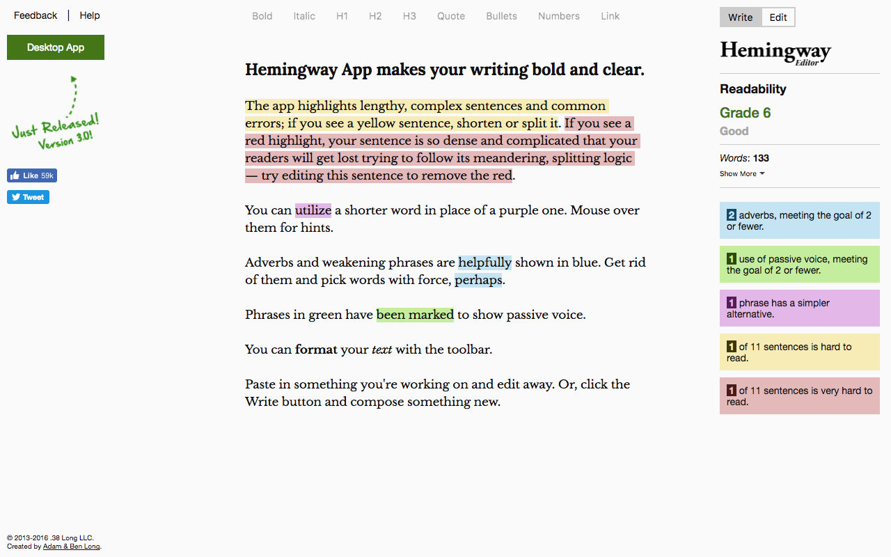 Aspen Grove Studios Best Writing Tools Hemingway App