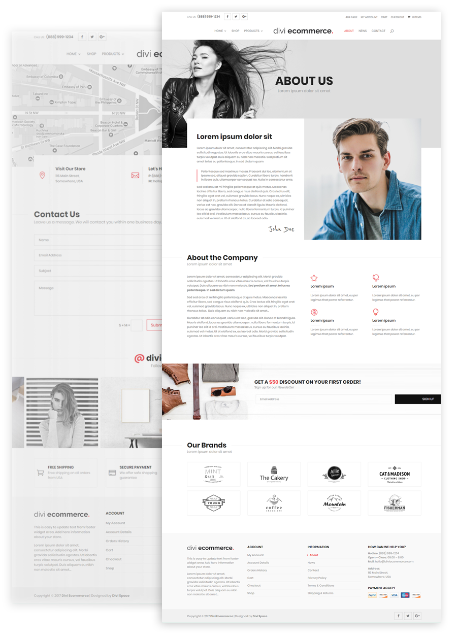 divi ecommerce About and Contact Pages