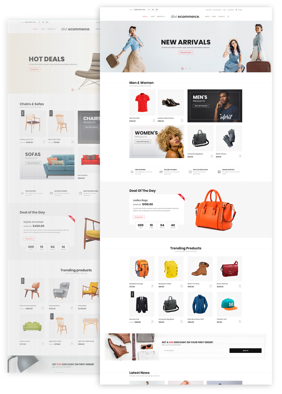divi ecommerce Home Pages