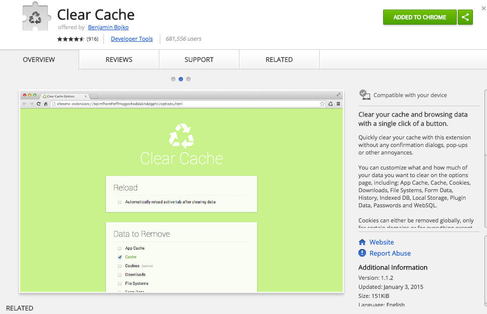 Google Chrome Extensions Clear Cache