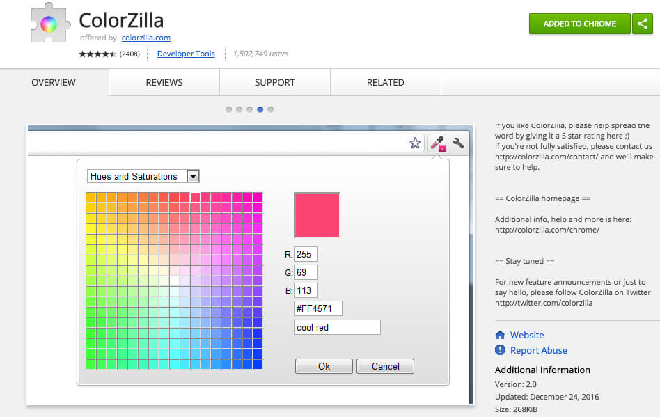 Google Chrome Extensions Color Zilla