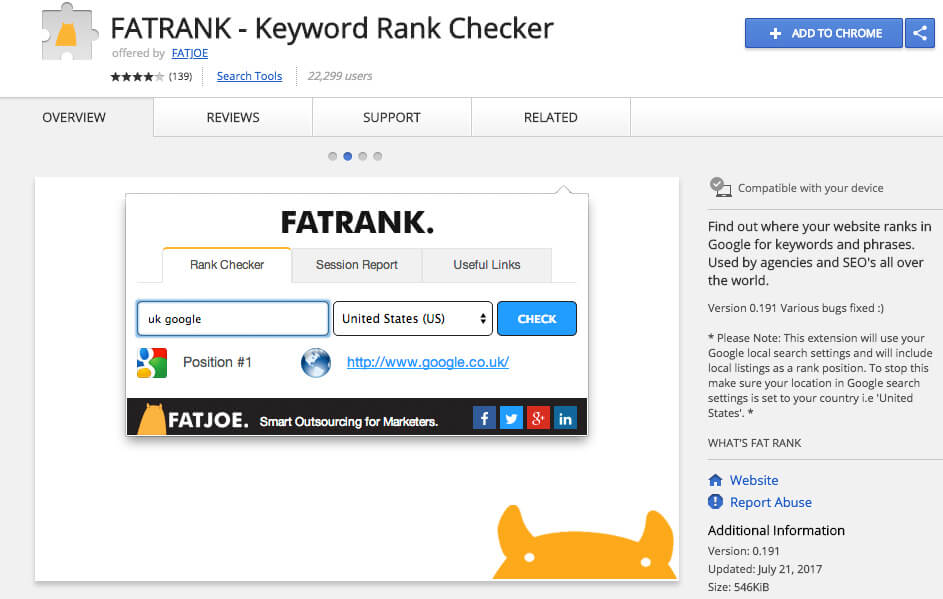 Google Chrome Extensions Fat Rank