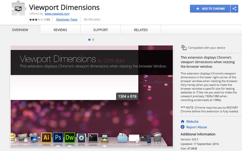 Google Chrome Extensions Viewport Dimensions