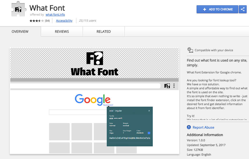 Google Chrome Extensions What Font
