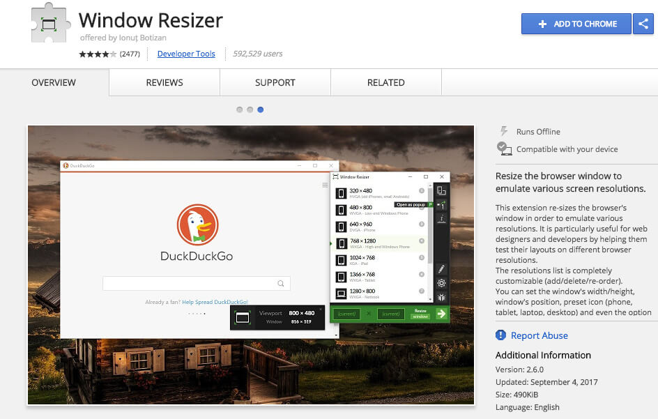 Google Chrome Extensions Window Resizer