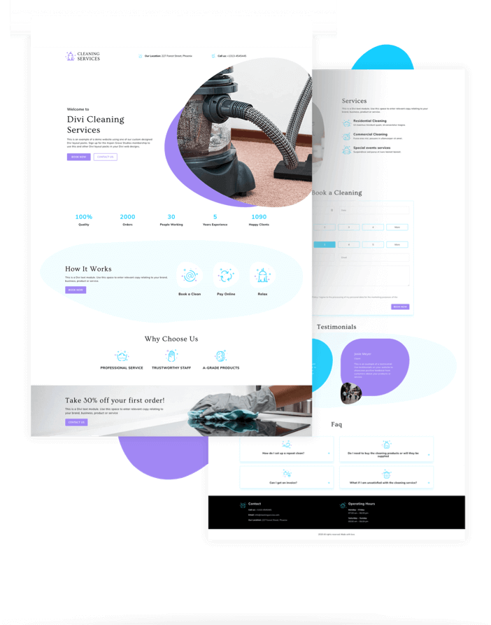 Free Divi Layout Cleaning Services Layout