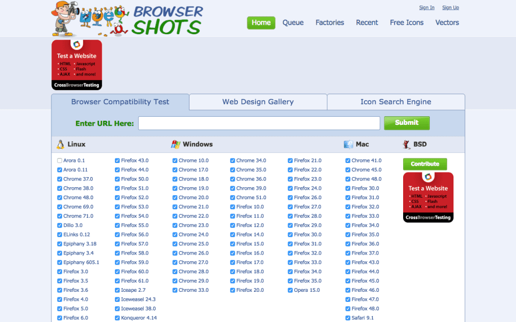 Broswer Shots homepage
