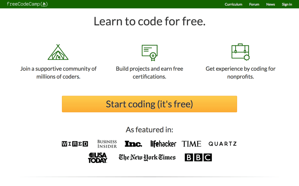freeCodeCamp homepage