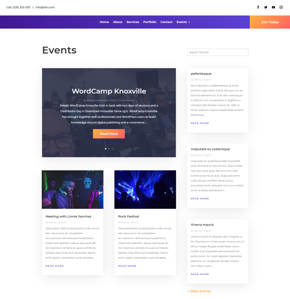 Events Category Page