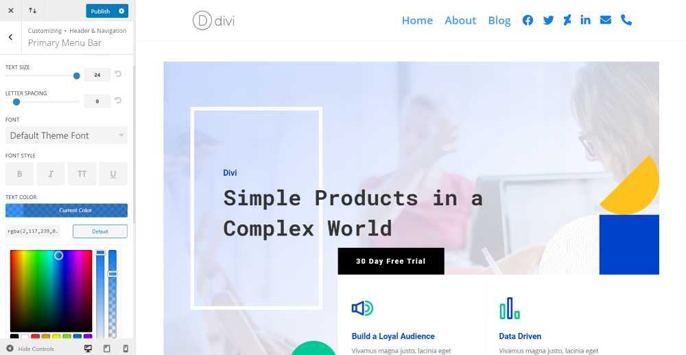 Adding Divi Icon Party Icons to the Primary Menu Bar
