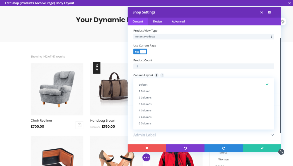 Change the Number of Columns in the WooCommerce Shop within the Divi Shop Module