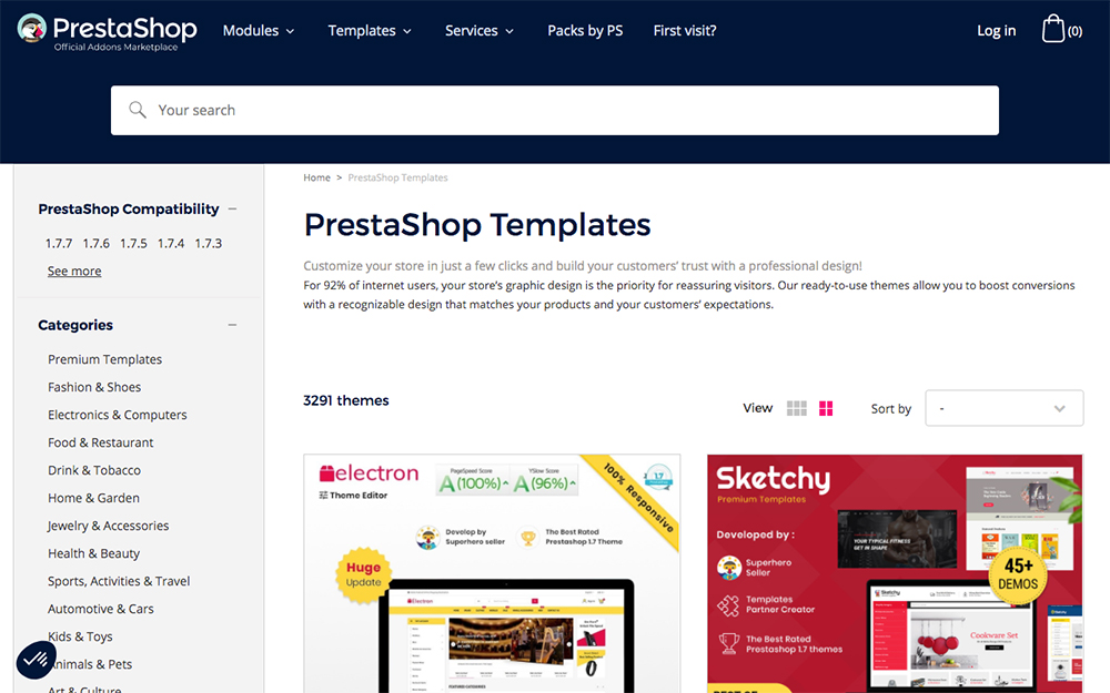 PrestaShop templates in the PrestaShop marketplace