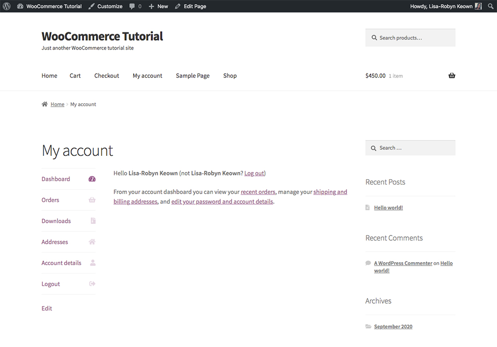 WooCommerce My Account pages