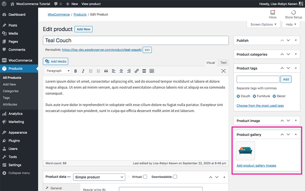 WooCommerce add new product gallery image set