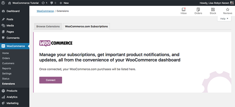 WooCommerce extensions connect WordPress subscription