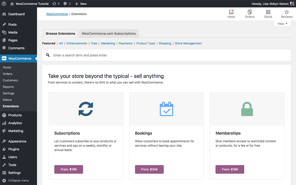 WooCommerce extensions main page
