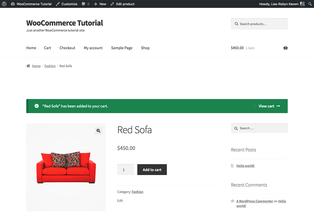 WooCommerce product added to cart
