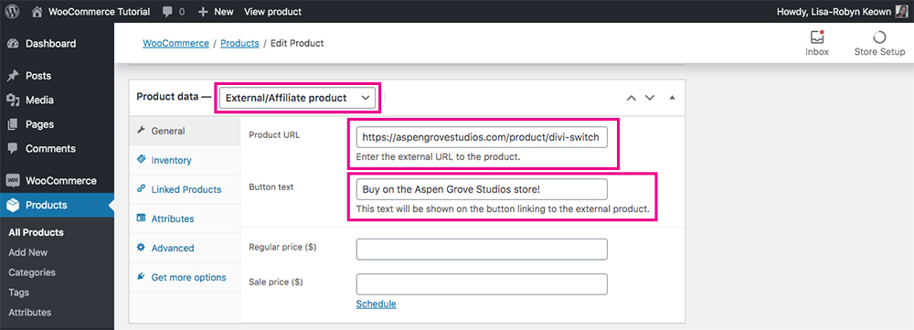WooCommerce product types external or affiliate product