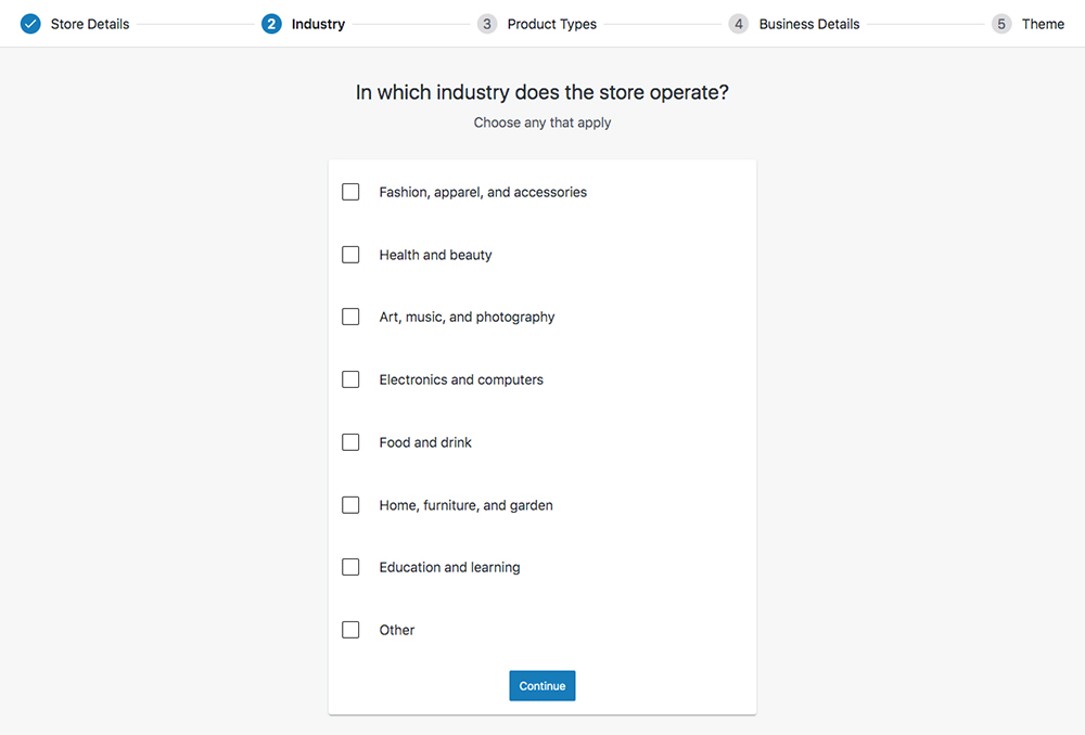 WooCommerce set up wizard Industry