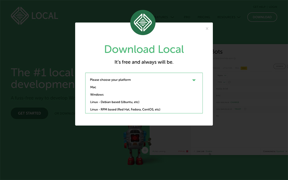 Set up localhost download Local from FlyWheel